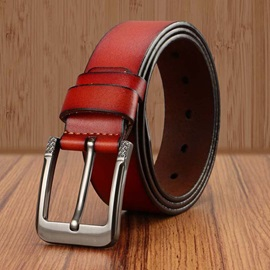 Fashion PU Pin Buckle Smooth Cowhide Men's Belt