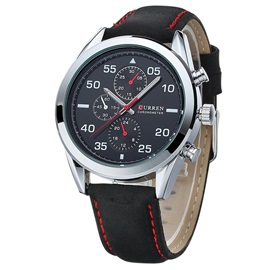 Three Eye Table Retro Dull Polish PU Band Men's Watch