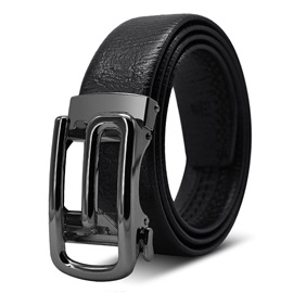 G Shape Automatic Buckle PU Leather Men's Belts