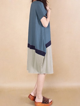 Cool Color Block Patchwork Plus Size Cotton Casual Dress