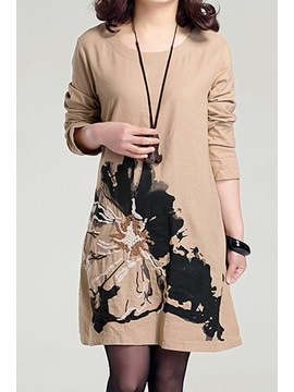 Stylish Solid Color Print Split Casual Dress