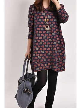Round Collar Long Sleeve Print Casual Dress