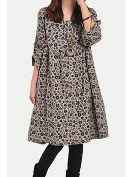 Floral Print Long Sleeve Pocket Women's Casual Dress