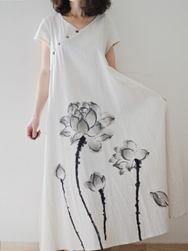 Plain Lotus Print Long Dress