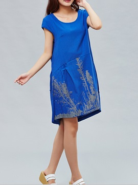 Printing Cap-Sleeve A Line Shift Dress