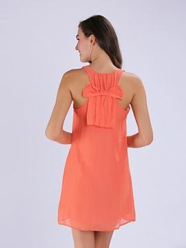 Backless & Bowknot A Line Shift Dress