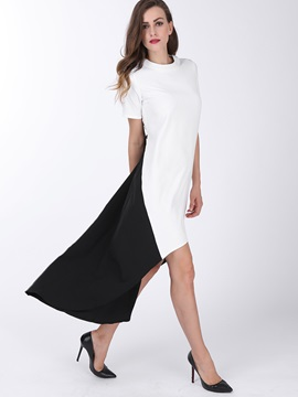 Contrast Color High-Low Shift Dress