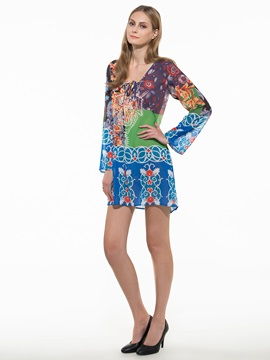 Ethnic Deep V Sleeve Day Dress