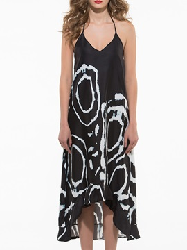 High-Low Backless Print Day Dress