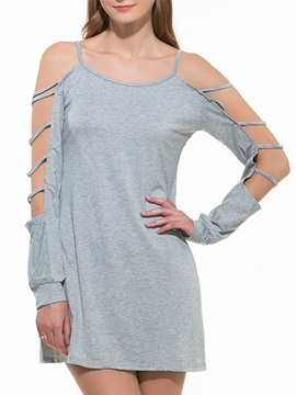 Plain Hollow Long Sleeve Shift Dress