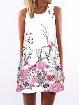 Floral Sleeveless Short Day Dress