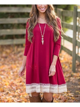 Lace Patchwork 3/4 Sleeves Women's Dress