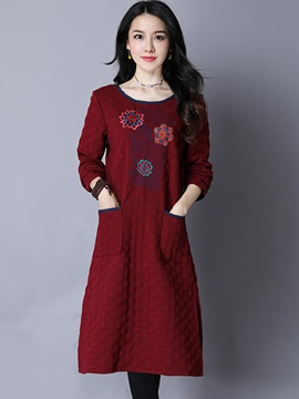 Embroidery Long Sleeve Pocket Women's Casual Dress