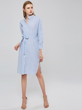 Lace up Single-Breasted Women's Shirt Dress