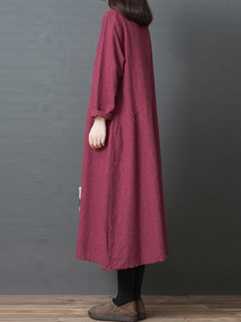 Round Neck Long Sleeve Mid-Calf Plain Regular Women's Shift Dress