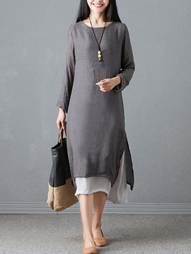 Round Neck Long Sleeve Split Regular Color Block Women's Shift Dress