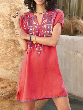 Above Knee Short Sleeve Embroidery Pullover Casual Women