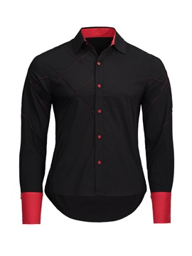 Plain Fashion Slim Fit Men's Long Sleeve Shirt