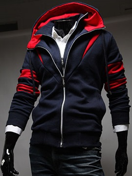Fashion Stand Collar Long Sleeve Men Hoodie