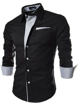 Tidebuy Lapel Color Block Patchwork Men's Casual Slim Shirt