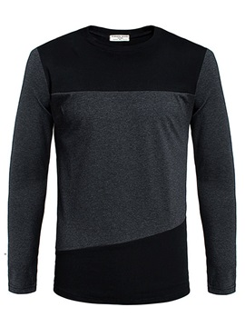 Tidebuy Color Block Patchwork Long Sleeve Men's T-Shirt