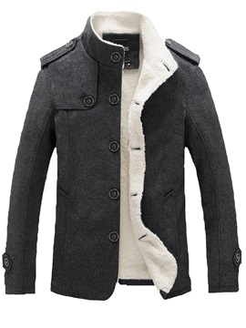 Solid Color Slim Fit Stand Collar Men's Woolen Coat