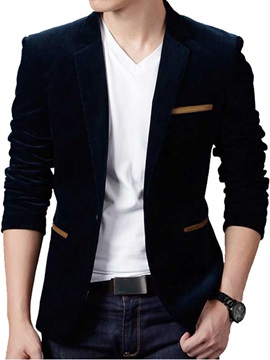 Tidebuy Cordury Pockets Decorated Men's Casual Plain Blazer