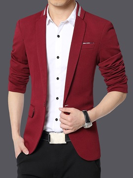 Single Breasted Solid Color Slim Long Sleeve Men's Outfits