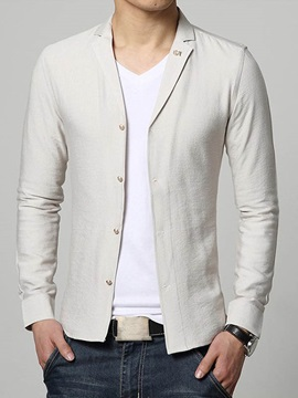 Solid Color Slim Fit Men's Casual Shirt