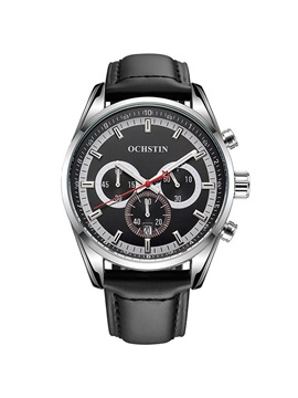 Three Eyes Six Pointers Design Round Men's Watch