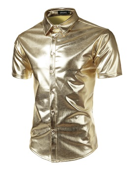 Shiny Slim Fit Lapel Men's Vogue Shirt