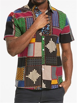 Ethnic Stylish Patchwork Slim Fit Men's Shirt