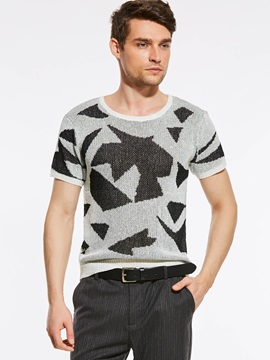 Tidebuy Round Neck Geometric Print Men's Loose T-Shirt