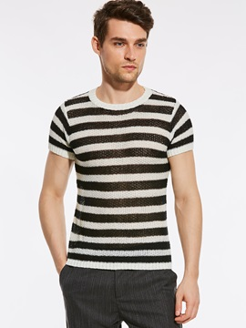 Tidebuy Round Neck Stripe Men's Loose T-Shirt