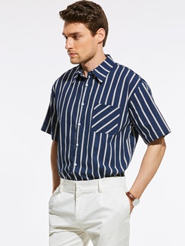 Tidebuy Stripe Single-Breasted Men's Short Sleeve Shirt