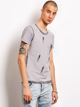 Printed Round Neck Men's Casual T-Shirt