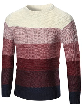 Round Neck Color Block Pullover Men's Sweater