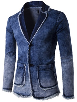 Notched Lapel Slim Men's Casual Denim Blazer