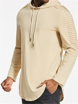 Plain Pleated Hooded Slim Fit Men's Hoodie