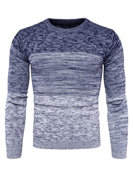 Gradient Color Round Neck Slim Long Sleeve Men's Sweater