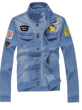 Tidebuy Lapel Single-Breasted Slim Men's Denim Jacket