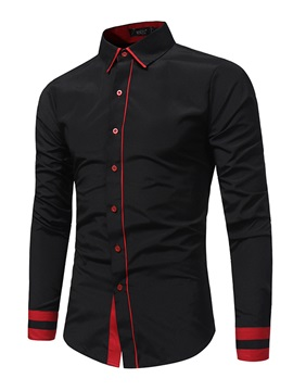Mosaic Stripe Single-Breasted Lapel Long Sleeve Slim Men's Casual Shirt