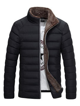 Stand Collar Zipper Plain Warm Men's Winter Jacket