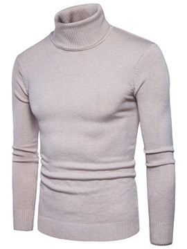 Solid Color High Collar Slim Warm Cotton Men's Sweater