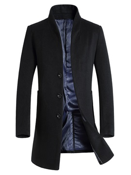Stand Collar Plain Mid-Length Men's Coat