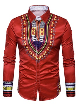 Tideuy Dashiki African Style Lapel Men's Long Sleeve Shirt