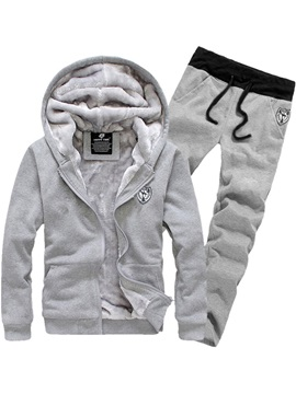 Hooded Solid Color Long Pant Thicken Men's Tracksuit Outfit
