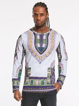 Tidebuy Dashiki African Style Men's Long Sleeve T-Shirt