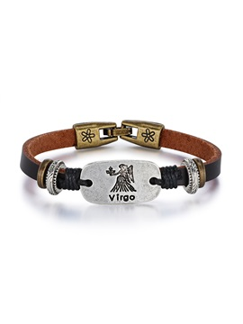 Virgo Alloy Leather Couple Constellation Men's Bracelets