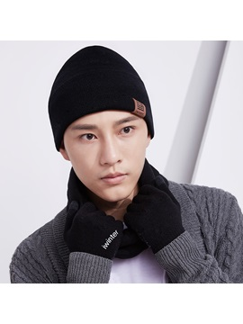 Plain Color Winter Knitted Warm Men's Scarfs Hats Gloves Sets